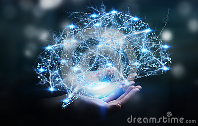 Businesswoman holding digital x-ray human brain in her hand 3D r