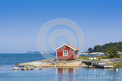 Stockholm archipelago: small red summerhouse