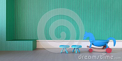Modern Play Room and bench toy on green wall/3d rendering