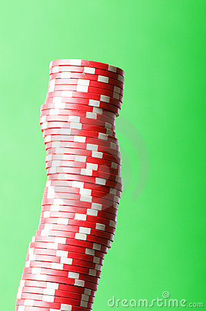 Stack of red casino chips