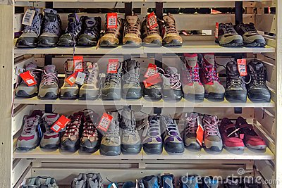 A display of walking boots,