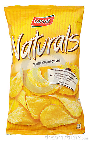 Lorenz Naturals Classic potato chips bag isolated on white