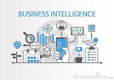 Business intelligence concept as background illustration with various symbols