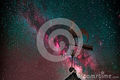 Milky Way, weather vane and stars