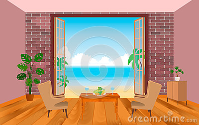 Interior of resort hotel room with armchairs, table and outlet to the sea.