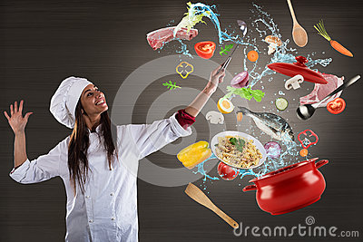 Chef cooking with harmony