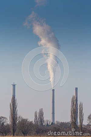 Heavy smoke pollution from coal power plant stacks