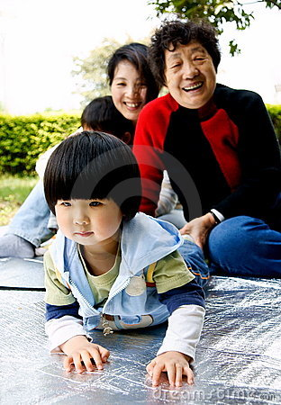 stock image of girl and families