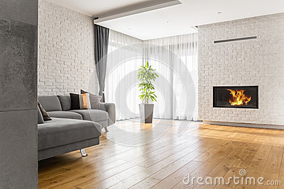 Living room with wood flooring