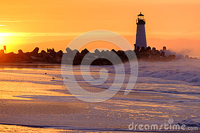 Santa Cruz Breakwater Light Walton Lighthouse at sunrise
