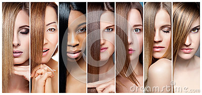 stock image of collage of women with various hair color, skin tone and complexion