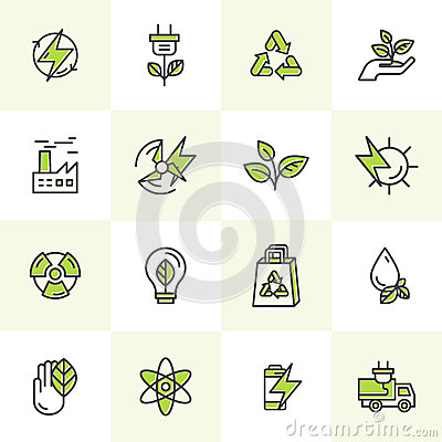 Environment, renewable energy, sustainable technology, recycling, ecology solutions. Icons for website, mobile app design, electri