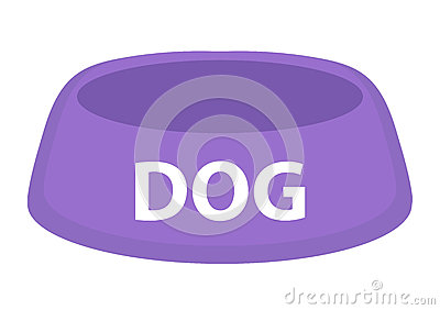 Dog bowl for food icon flat, cartoon style. Isolated on white background. Vector illustration, clip-art.