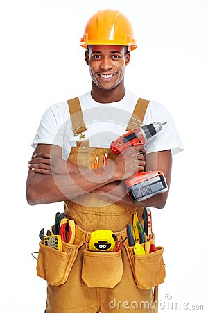 Handyman isolated white background.