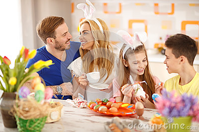 Family preparing Easter festivity