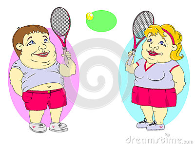 Fat people playing tennis