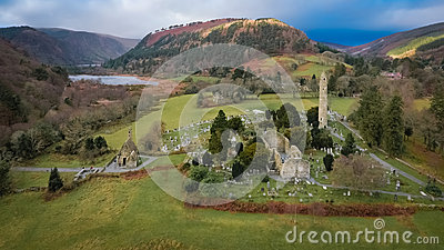 Aerial view. Glendalough. Wicklow. Ireland