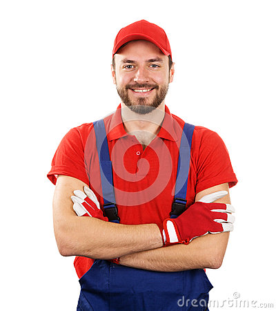 smiling handyman isolated on white background