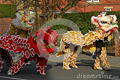 Lion Dancing Chinese New Year Celebrations in Blackburn England