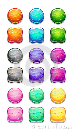 Colorful round and square cartoon buttons set.