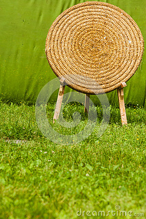 Old fashioned shooting target made of hay