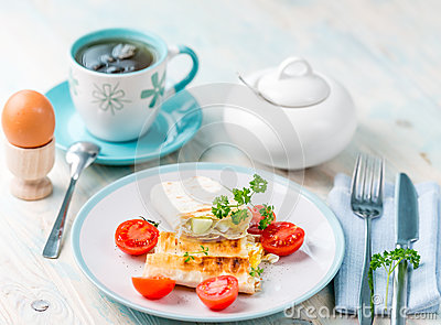Delicious brunch with vegetarian sandwich, boiled egg