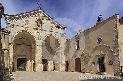 View of main facade of Saint Michael Archangel Sanctuary at Monte Sant`Angelo on Italy.