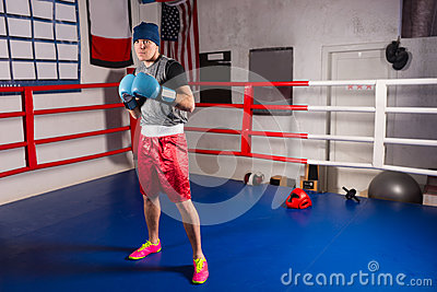 stock image of young sporty male boxer in boxing gloves prepares for battle