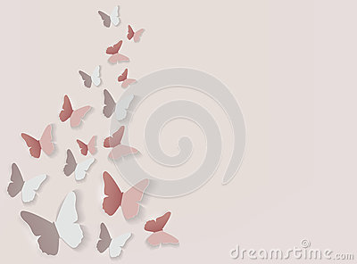 Abstract Paper Cut Out Butterfly Background. Vector Illustration