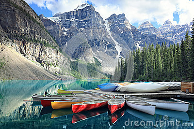 Moraine lake in the Rocky Mountains, Alberta, Canada