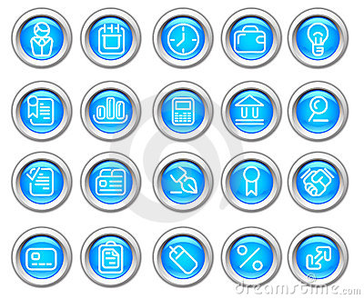 Silvero glossy icon set: Business and Finance