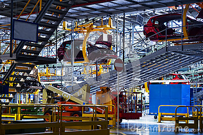 Car bodies on the production line