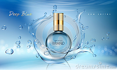 Vector illustration of a realistic style perfume in a glass bottle on a blue background with water splash