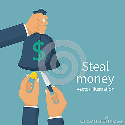Steal money concept