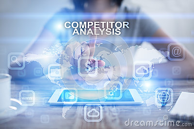 Woman pressing on virtual screen and selecting competitor analysis