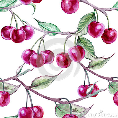 Background branch with cherries. Seamless pattern.