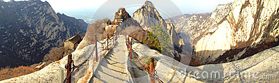 Chinese Shaanxi province tourist attractions in Huashan mountain.