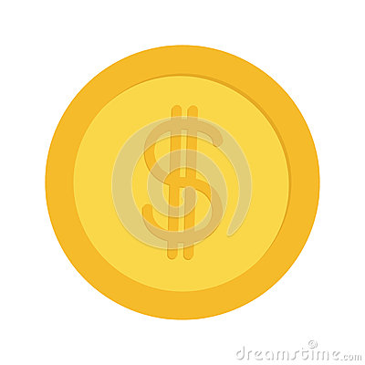 Gold coin money with dollar sign symbol. Cash business icon. Wealth concept. Flat design. Isolated. White background.