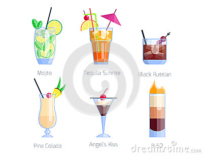 Set of alcoholic cocktails isolated fruit cold drinks tropical cosmopolitan freshness collection and party alcohol sweet