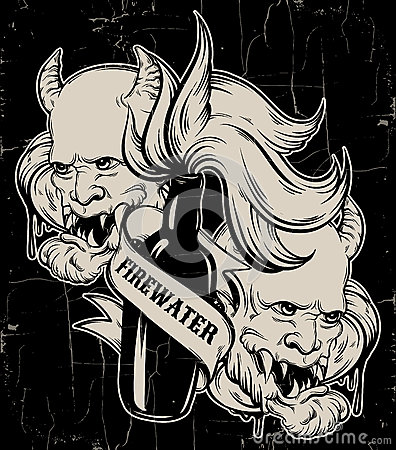 Vector hand drawn illustration of ` Firewater` with head of devil.