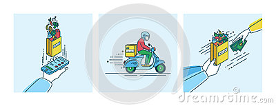 Food delivery concept. Lineart Illustration set in flat style.