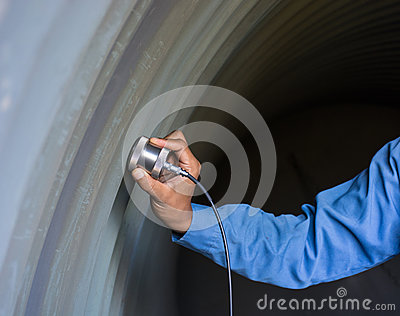 Ultrasonic test to detect imperfection or defect of wall thickne