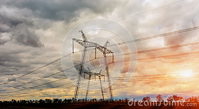 Electricity Pylon - overhead power line transmission tower.