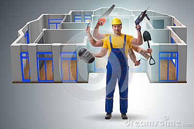 The jack of all trades concept with worker