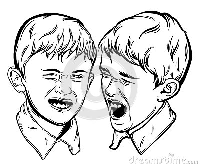 Illustration of little funny emotional boys made in hand drawn realistic style.