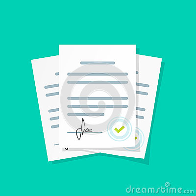 Contract documents pile vector illustration, stack of agreements document with signature and approval stamp