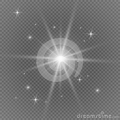 White glowing light burst explosion with transparent. Vector illustration for cool effect decoration with ray sparkles. Bright sta