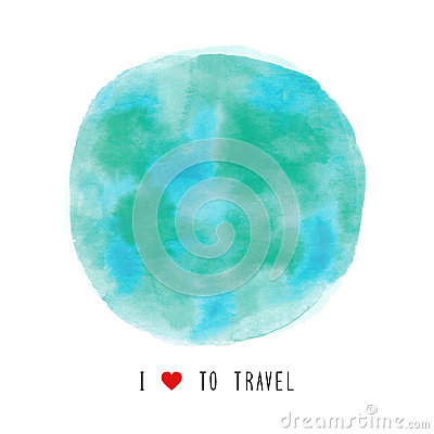 Globe watercolor painted with I love to travel text