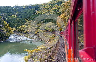 Mountain landscape and Hozu River seen from Sagano Scenic Railway, Arashiyama