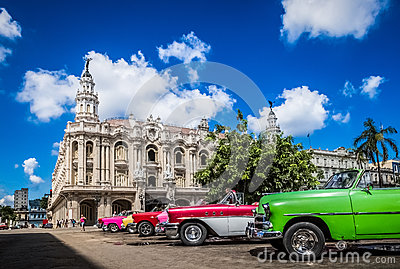 HDR - Beautiful american convertible vintage cars parked in Havana Cuba before the gran teatro - Serie Cuba Reportage